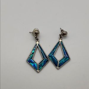 Blue Mother of pearl silver earrings